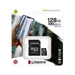 MEMORY CARD KINGSTONE CANVAS SELECT MICRO SD 128 GB CLASSE 10 CON ADATTATORE SD
