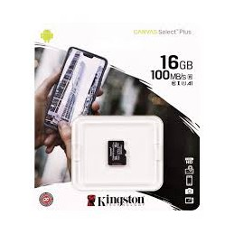MEMORY CARD KINGSTONE CANVAS SELECT MICRO SD 16 GB CLASSE 10 SENZA ADATATORE ADATTATORE SD
