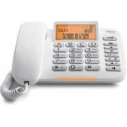 Gigaset DL580 Telefono Fisso, Ampio Display, Grandi Tasti Ergonomici, Visualizzazione Chiamata Tramite LED, Bianco