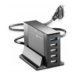 CARICABATTERIA RETE 5 USB QUALCOMM+STAND
