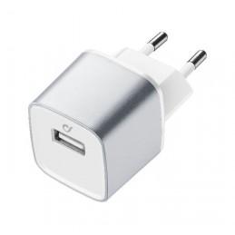 CARICABATTERIA RETE IPHONE  USB  ARGENTO
