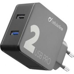 CARICABATTERIE RETE 2 USB 18W QUALCOM PLUS  NERO