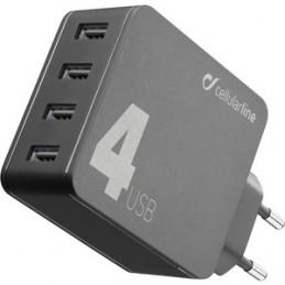 CARICABATTERIE RETE 4 USB 42W NERO