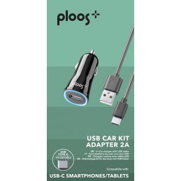 KIT CARICABATTERIE DA AUTO 2A USB-C NERO