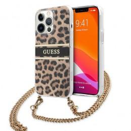 cover guess iphone 13 pro max leopard con catena gold